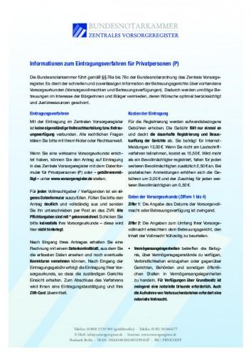 Informationen zum Eintragungsverfahren für Privatpersonen (P)