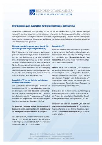 Informationen zum Zusatzblatt für Bevollmächtigte / Betreuer (PZ)